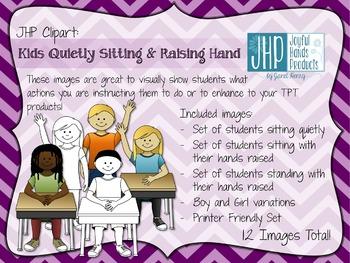 Kids Quietly Sitting & Raising Hand Clipart
