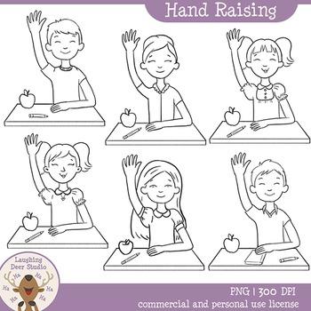 Kids Raising Hands Clip Art
