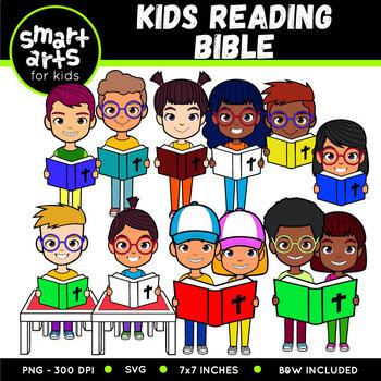 Kids Reading Bible Clip Art