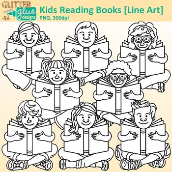Kids Reading Books Clip Art | Great for Back to School, Posters, & Brag Tags B&W