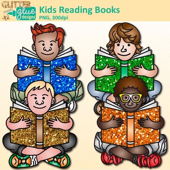 Kids Reading Books Clip Art {Great for Back to School, Posters, & Brag Tags}
