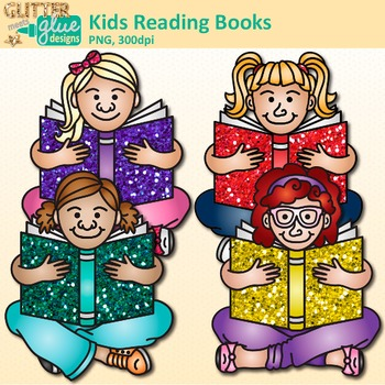 Kids Reading Books Clip Art   Great for Back to School, Posters, & Brag Tags