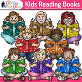 Kids Reading Books Clip Art {Great for Back to School, Pos