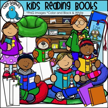 Kids Reading Books Clip Art - Chirp Graphics