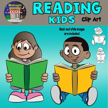 Kids Reading Clip Art - Charles and Maria