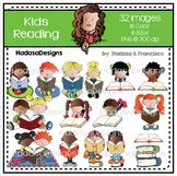 Kids Reading Clip Art Set