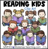 Kids Reading 2 Clip Art