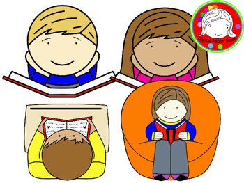 Kids Reading Clipart (Personal & Commercial Use)