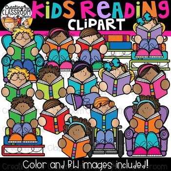 Kids Reading Clipart {Reading Clipart}
