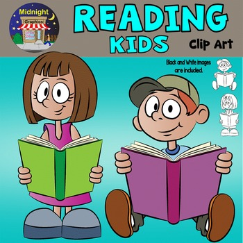 Kids Reading Clip Art - Johnny and Patty