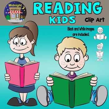 Kids Reading Clip Art - Mike and Sarah