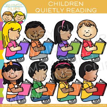 Kids Reading Quietly: Reading Clip Art