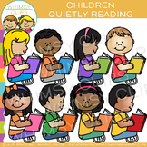 Kids Reading Quietly: Reading Clip Art