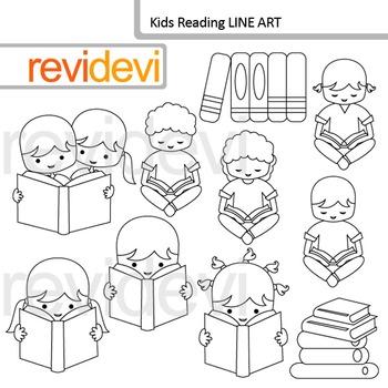 Kids Reading line art - clip art blackline