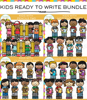 Kids Ready for Writing Clip Art Big Bundle