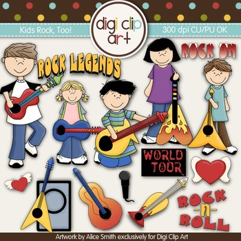 Kids Rock, Too! -  Digi Clip Art/Digital Stamps - CU Clip Art