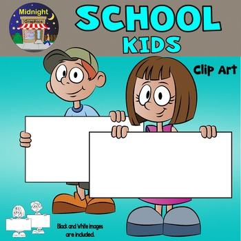 Kids Clip Art - School Kids - Kids Holding Signs - Set 1
