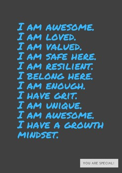 Kids Self Care Positive Self Talk Poster