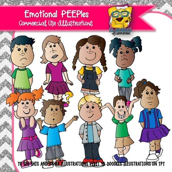 Kids Showing Emotion Clipart -PEEPles Collection