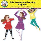 Kids Singing and Dancing Clip Art