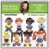 Kids Sitting Criss Cross Clip Art Set