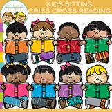 Kids Sitting Criss Cross Reading Clip Art