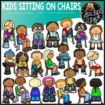 Kids Sitting on Chairs Clip Art Set {Educlips Clipart}