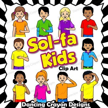 Kids Solfa Hand Sign Clip Art | Kodaly Curwen Hand Signs