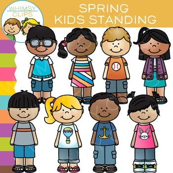 Standing Kids Clip Art - Spring Edition