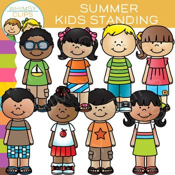 Standing Kids Clip Art Summer Edition By Whimsy Clips Tpt