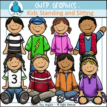 Kids Standing and Sitting Clip Art Set - Chirp Graphics