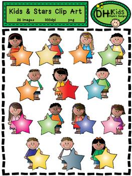 Kids & Stars Clip Art