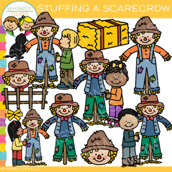 Kids Stuffing a Scarecrow Clip Art