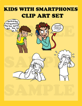 Kids Talking On Their Smartphones- Clip Art mini Set