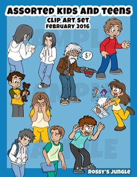 Kids+Teens clip art: Assorted actions February 2016