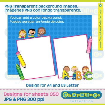 Kids Template Design A4 and US Sheet Pink and Green 050