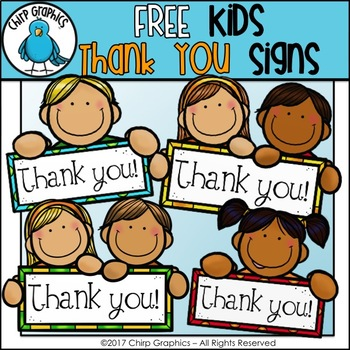 FREE Kids Thank You Signs Clip Art Set  - Chirp Graphics