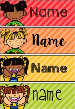 Kids Themed Desk Plates / Tote Tray Labels