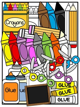 Kid Toppers Clipart with School Supplies Clipart -Commercial & Personal use