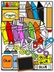 Kid Toppers Clipart with School Supplies Clipart -Commerci