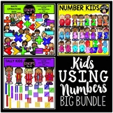 Kids Using Numbers Clip Art Big Bundle {Educlips Clipart}