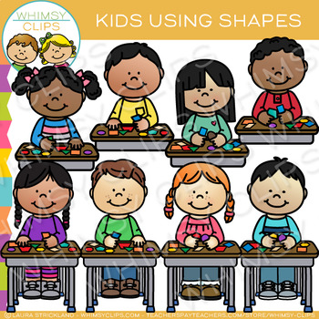 Kids Using Shapes Clip Art {Math Clip Art}