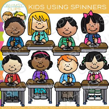 Kids Using Spinners Clip Art