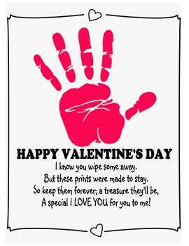 Kids Valentines day craft handprint art gift parent