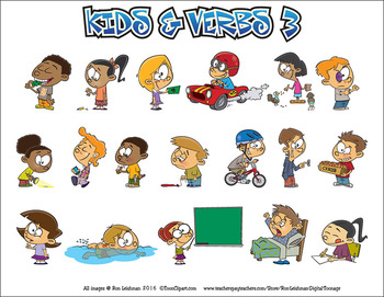 Kids & Verbs Cartoon Clipart Vol. 3