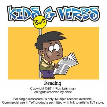 Kids & Verbs Cartoon Clipart