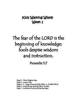 Kids Walking Wisely, Week 1: Proverbs 1:7