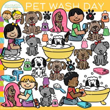 Kids Washing Pets Clip Art