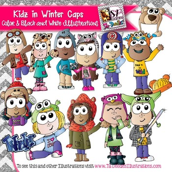 Kids Wearing Fun Winter Hats Clip Art