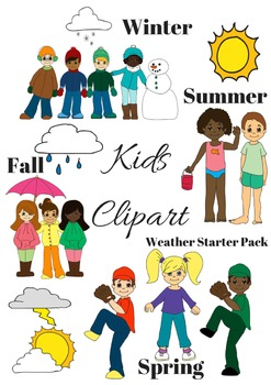 Kids Seasonal (Summer, Winter, Fall, Spring) and Weather Clip Art Pack